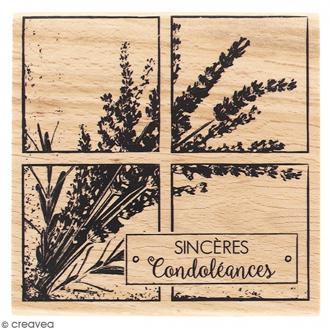 Tampon Bois Sincères condoléances - 8 x 8 cm