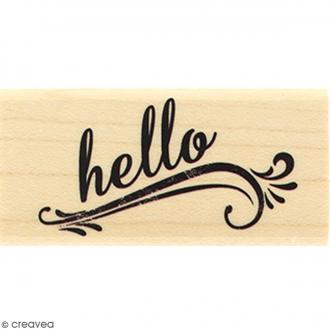 Tampon Bois Hello grunge - 3 x 6 cm