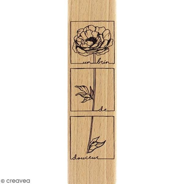Tampon Bois Fleur brin de douceur - 4 x 15 cm - Photo n°1