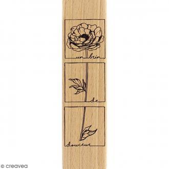 Tampon Bois Fleur brin de douceur - 4 x 15 cm
