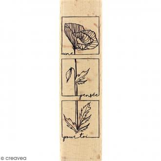 Tampon Bois Fleur pensée pour toi - 4 x 15 cm