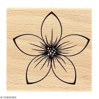 Tampon Bois Fleur isabella - 6 x 6 cm