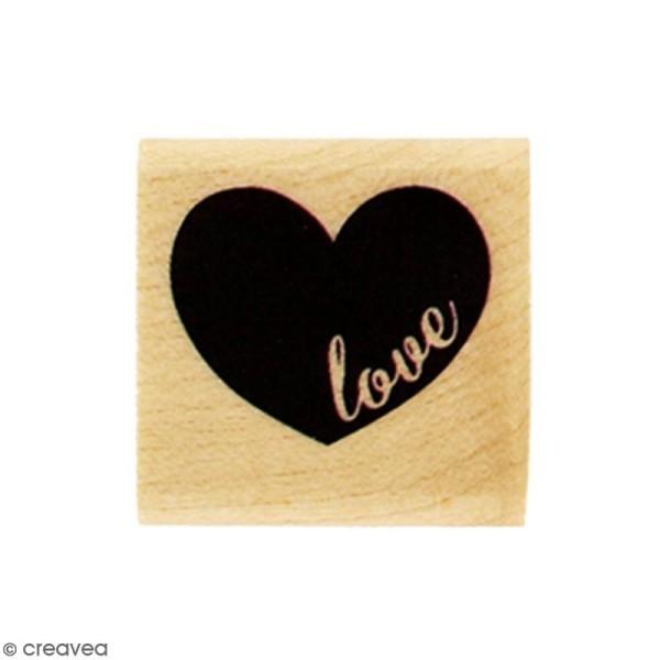 Tampon Bois Mini coeur Love - 3 x 3 cm - Photo n°1