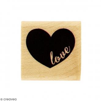 Tampon Bois Mini coeur Love - 3 x 3 cm