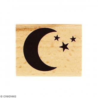 Tampon Bois Dans la lune - 4 x 5 cm