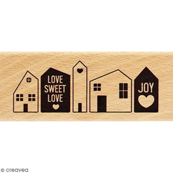 Tampon Bois Love Sweet Love - 4 x 10 cm - Photo n°1