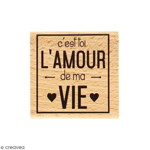 Tampon Bois Amour de ma vie - 5 x 5 cm - Photo n°1