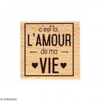 Tampon Bois Amour de ma vie - 5 x 5 cm