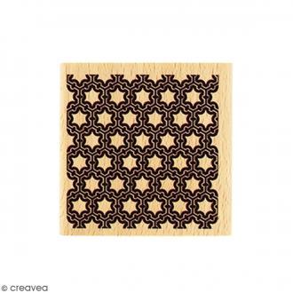 Tampon Bois Carré décoratif - 5 x 5 cm
