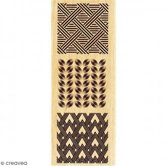 Tampon Bois Trois carrés déco - 6 x 15 cm