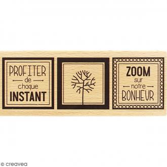 Tampon Bois Zoom sur le bonheur - 6 x 15 cm