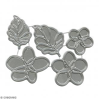Dies Florilèges Design - Fleurs et feuilles - 5 pcs