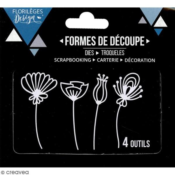Dies Florilèges Design - Fleurs stylisées - 4 pcs - Photo n°3