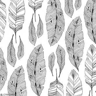 Tissu à colorier Doodling Feather - Largeur 140 cm - Par 10 cm (sur mesure)