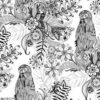 Tissu à colorier Doodling Flowers - Largeur 140 cm - Par 10 cm (sur mesure)
