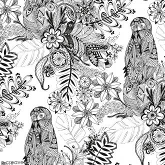 Tissu Doodling Flowers - Largeur 140 cm - Par 10 cm (sur mesure)