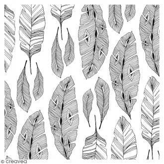 Coupon de tissu Doodling Feather - 50 x 70 cm