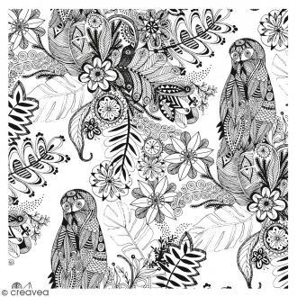 Coupon de tissu Doodling Flowers - 50 x 70 cm