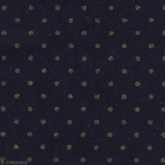 Tissu lainage - Bleu à pois dorés - Par 10 cm (sur mesure)