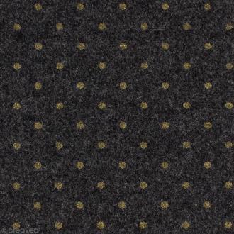 Tissu lainage - Gris à pois dorés - Par 10 cm (sur mesure)