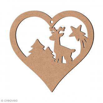 Coeur ajouré Paysage Noël et cerf à suspendre - Bois - 4,5 cm