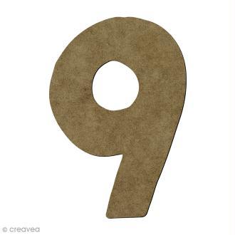 Chiffre en bois 9 - 7 cm