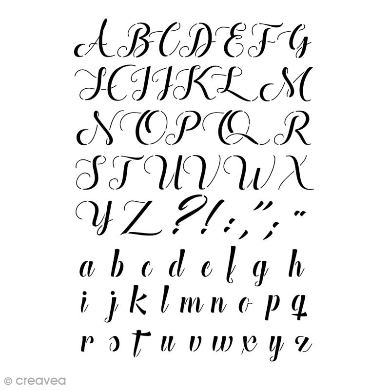 pochoir multiusage alphabet manuscrit 29 7 x 21 cm a4 pochoir alphabet creavea. Black Bedroom Furniture Sets. Home Design Ideas
