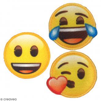 Stickers écussons 3 pcs - Emoji content, mort de rire, bisou - 35 mm