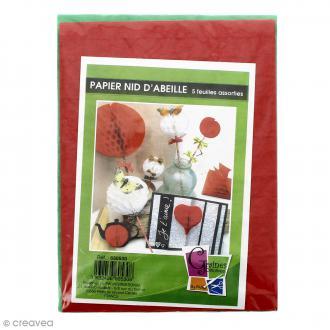 Papiers nid d'abeille - 5 coloris - 25 x 18,5 cm - 5 feuilles