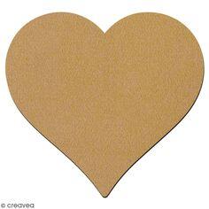 Dessous de verre coeur en bois à décorer - 10 cm