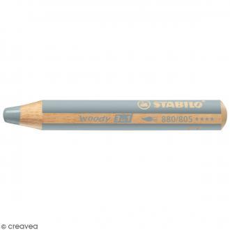Crayon de coloriage Stabilo Woody - 3 en 1 - Argenté - Pointe de 10 mm