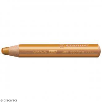 Crayon de coloriage Stabilo Woody - 3 en 1 - Doré - Pointe de 10 mm