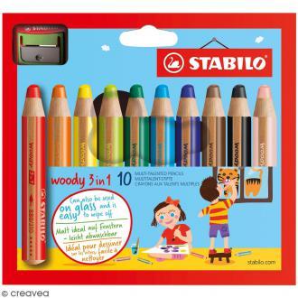 Boîte de 10 crayons de coloriage Stabilo Woody 3 en 1 - Pointe de 10 mm + 1 taille crayon