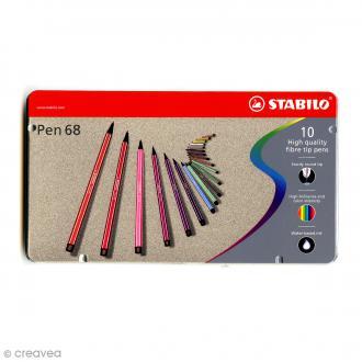 Stabilo Pen 68 - Etui en métal de 10 feutres - Couleurs assorties