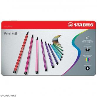 Stabilo Pen 68 - Etui en métal de 40 feutres - Couleurs assorties