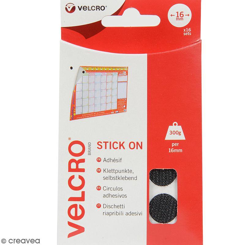 Pastilles Velcro auto agrippantes - A coller - Noir - 16 mm - 16 pcs - Photo n°1
