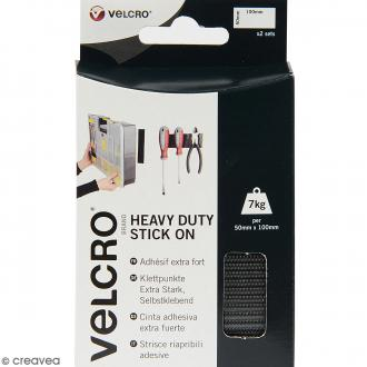 Bandelettes Velcro - A coller - Fixation extrême - Noir - 50 mm x 10 cm - 2 pcs