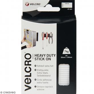 Bandelettes Velcro - A coller - Fixation extrême - Blanc - 50 mm x 10 cm - 2 pcs