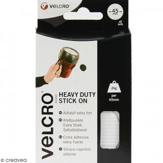 Pastilles Velcro - A coller - Fixation extrême - Blanc - 45 mm - 6 pcs