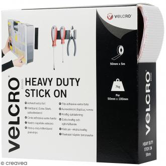 Ruban Velcro - A coller - Fixation extrême - Blanc - 12 mm x 20 cm