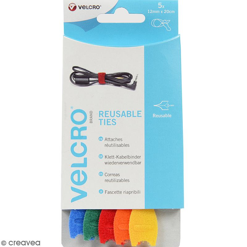 Attaches Velcro et feutrine pour câbles - Multicolore - 12 mm x 20 cm - 6 pcs - Photo n°1