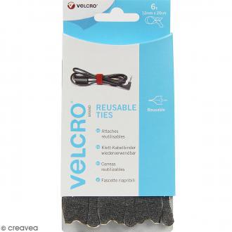 Attaches Velcro et feutrine pour câbles - Noir - 12 mm x 20 cm - 6 pcs