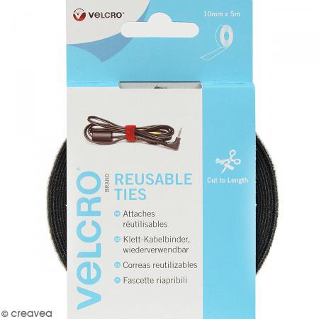 Ruban serre câbles Velcro auto agrippant - Noir - 10 mm x 5 m - Velcro