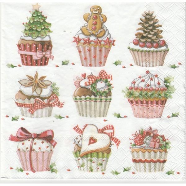 4 Serviettes en papier Cupcakes de Noël Format Lunch Decoupage Decopatch 2572-7305-45 Stewo - Photo n°1