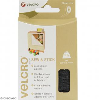 Ruban Velcro pour tissus - A coller ou à coudre - Noir - 20 mm x 1 m