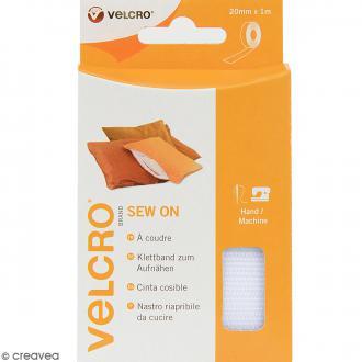 Ruban Velcro pour tissus - A coudre - Blanc - 20 mm x 1 m