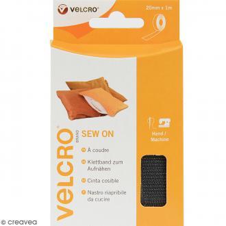 Ruban Velcro pour tissus - A coudre - Noir - 20 mm x 1 m