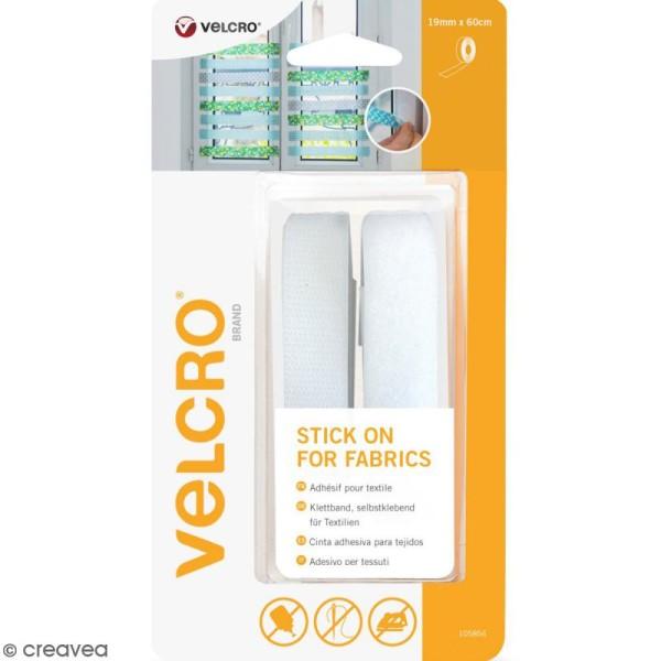 Ruban Velcro pour tissus - A coller - Blanc - 19 mm x 60 cm - Photo n°1