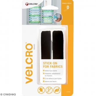 Ruban Velcro pour tissus - A coller - Noir - 19 mm x 60 cm