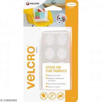 Ovales Velcro pour tissus - A coller - Blanc - 24 mm - 8 pcs